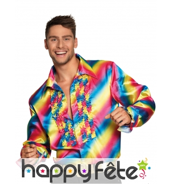 Chemise froufrou disco tissu satiné pour homme