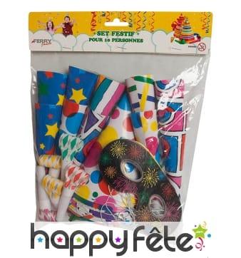 Cotillons festifs et colorés pour 10 personnes