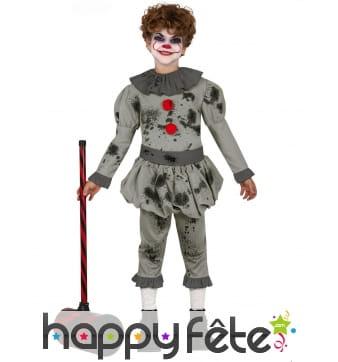 Costume gris de clown tueur ensanglanté, enfant