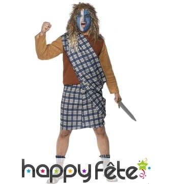 Costume guerrier écossais bleu