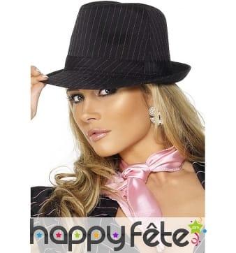 Chapeau gangster femme noir rose