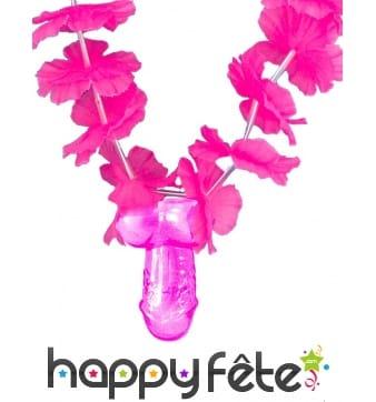 Collier hawaïen avec pendentif zizi rose, adulte