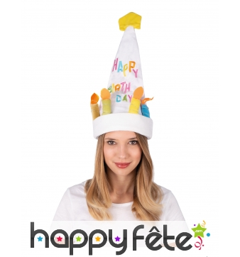Chapeau Happy Birthday sonore et dansant, adulte