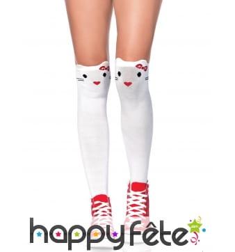 Chaussettes hautes blanches tête de chat