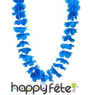 Collier hawaïen bleu uni