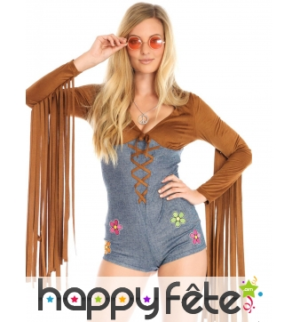 Combinaison hippie bleu marron longues franges