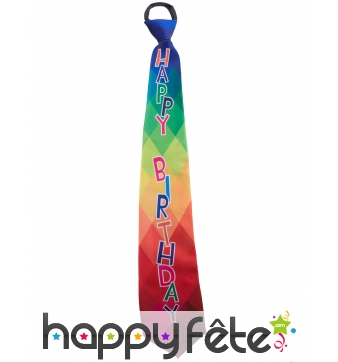 Cravate Happy Birthday multicolore pour adulte