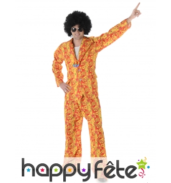 Costume hippie camaieu orange fleuri pour homme