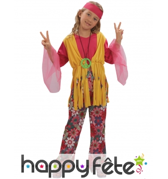 Costume hippie fleuri rose et jaune pour fillette