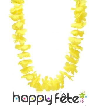 Collier hawaïen jaune uni