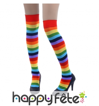 Chaussettes hautes lignées multicolores