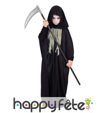 Cape Halloween noire avec capuche pour enfant