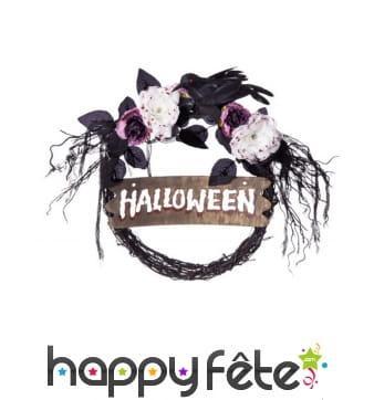 Couronne Halloween noire avec fleurs pour porte