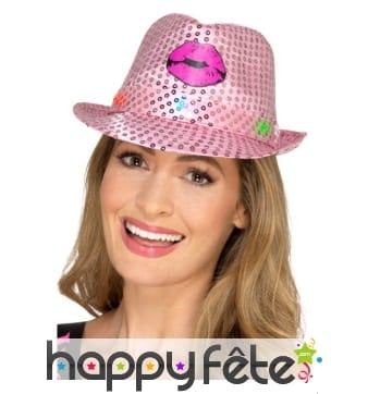 Chapeau Hen party rose lumineux et paillettes