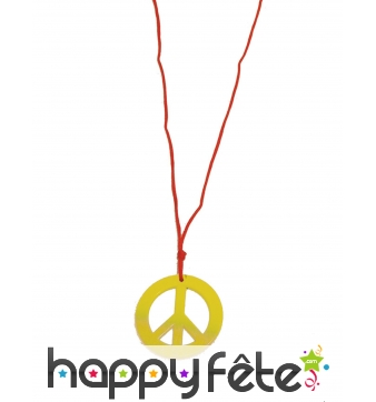 Collier hippie pendentif peace and love jaune