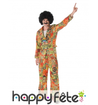 Costume hippie peace and love coloré pour homme