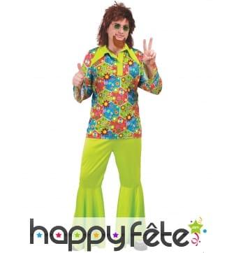 Costume hippie Woodstock vert pour homme
