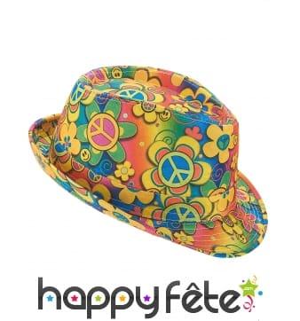 Chapeau imprimé hippie fleuri