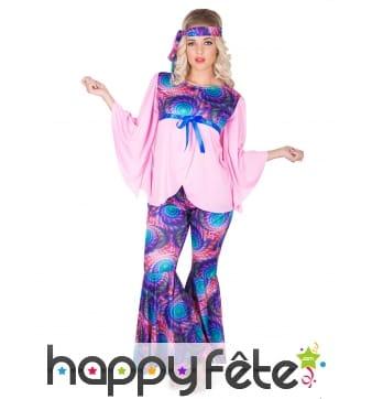 Costume imprimé hippie rose violet pour femme