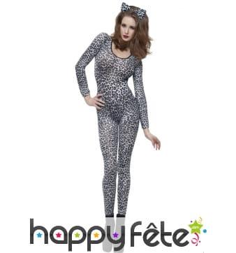 Combinaison imprimé léopard noir blanc