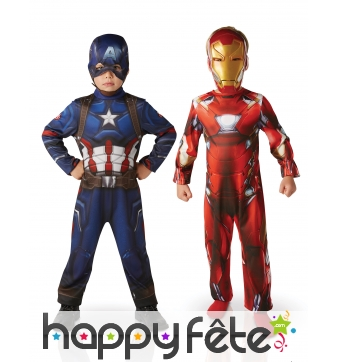 Costumes Iron Man et Captain America enfant