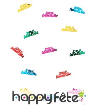 Confettis joyeux anniversaire multicolores de 5cm