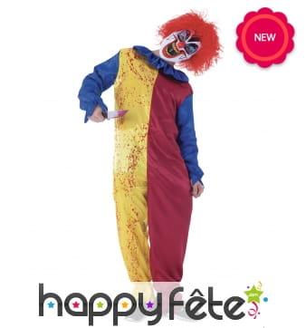 Combinaison jaune rouge de clown Halloween enfant