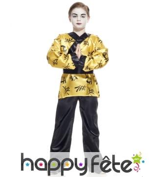 Costume kimono doré de petit chinois