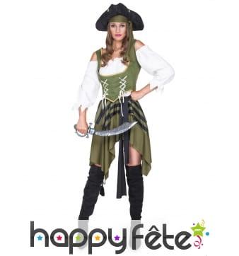 Costume kaki noir de femme pirate