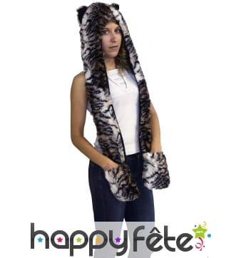 Capuche léopard, écharpe à poches