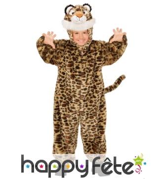 Combinaison léopard effet peluche pour enfant