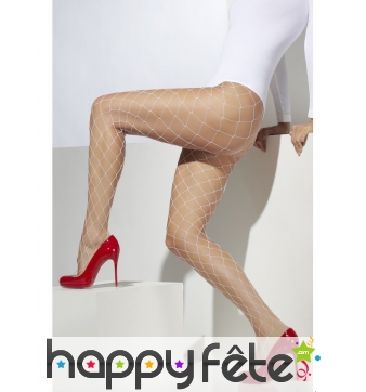 Collants larges mailles blanches