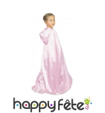 Cape longue rose clair avec capuche pour enfant