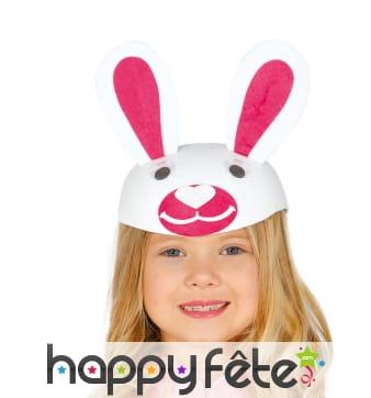 Coiffe lapin rose et blanc pour enfant