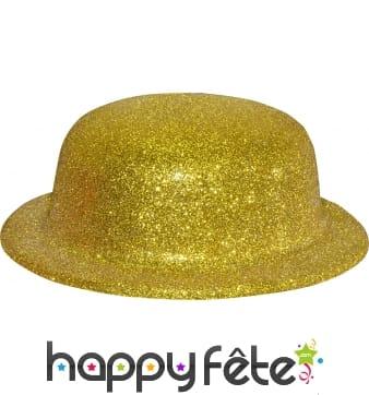Chapeau melon avec paillettes or