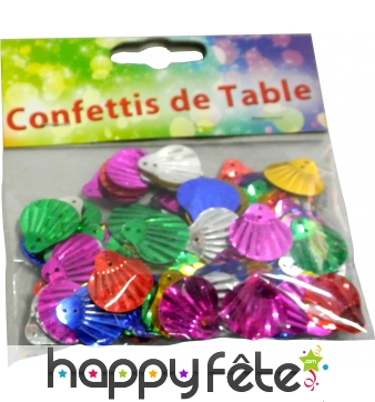 Confettis multicolores coquillages