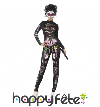 Costume moulant chat Sugar Skull pour femme