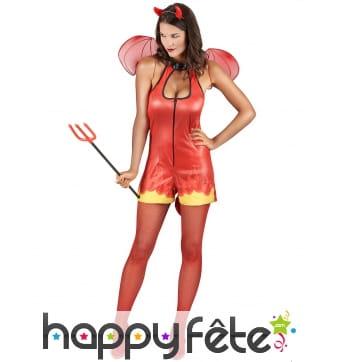 Costume moulant court de diablesse rouge