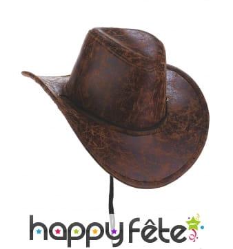 Chapeau marron de cowboy imitation Cuir, adulte