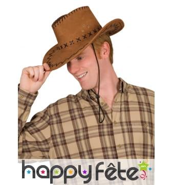 Chapeau marron de cowboy pour adulte