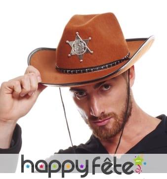 Chapeau marron de shérif pour adulte