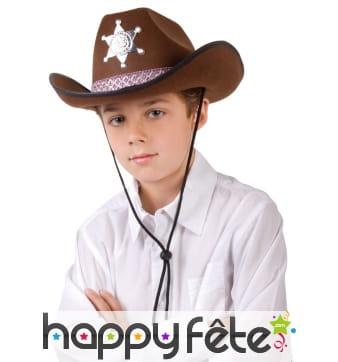 Chapeau marron de sheriff pour petit garçon