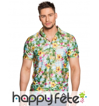 Chemisette motifs des îles style Hawaï pour homme