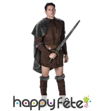 Costume marron de viking avec cape grise