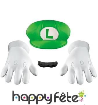 Casquette, moustache et gants de Luigi pour adulte