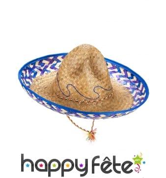 Chapeau mexicain en paille contour bleu