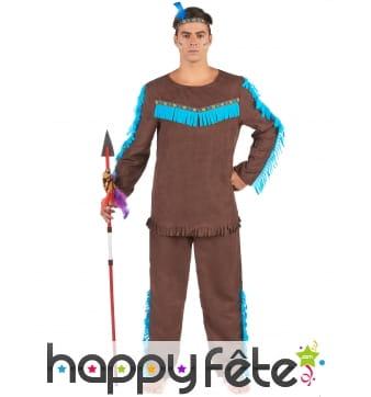 Costume marron et bleu d'Indien pour homme