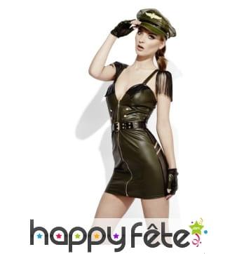 Costume militaire effet mouillé, sexy sm