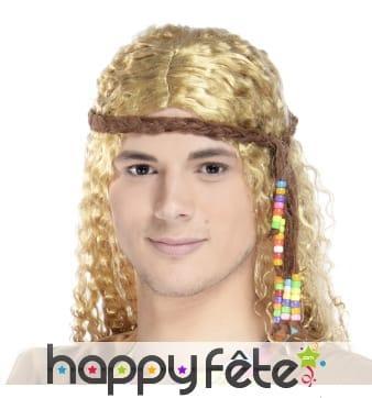 Cordelette marron hippie de tête avec perles
