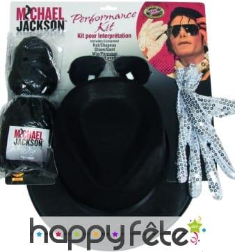 Chapeau michael jackson, perruque, lunettes, gant